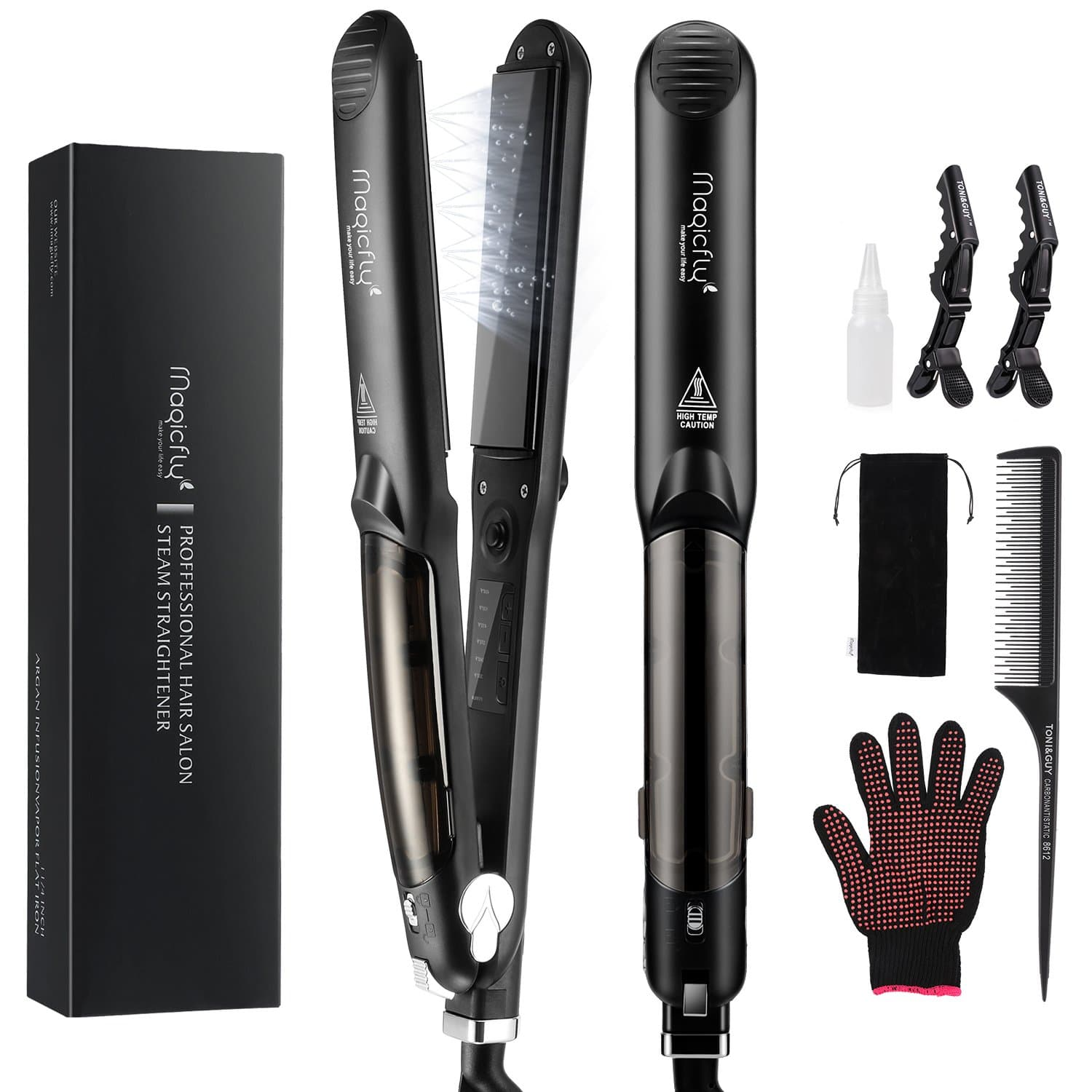 Magic Fly Professional Ceramic Steam Flat Iron – Best For Straightening And Curling Hair